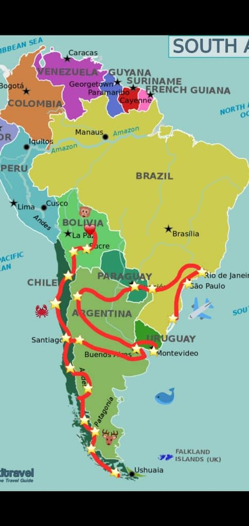 Travel Route South America